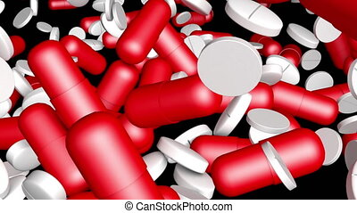 Pills are falling. Alpha channel