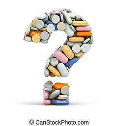 Pills as question on white isolated background. Medical concept. 3d