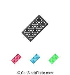 Pills blister pack icon flat