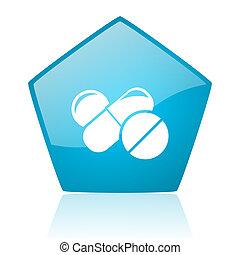 pills blue pentagon web glossy icon