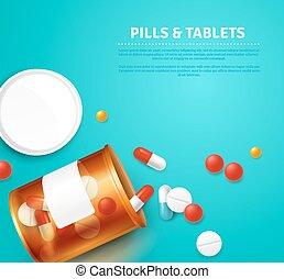Pills Bottle Realistic Illustration