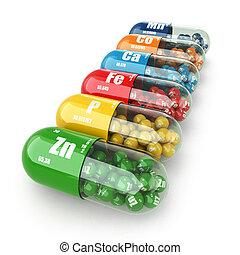 pills., capsules., 変化, supplements., ビタミン, 食事である