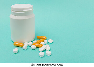 Pills, Capsules, and Medicine Bottle with Copy Space