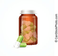 Pills Capsules in Medical Glass Bottle. Vector