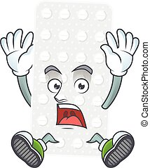 Pills cartoon character design showing shocking gesture. ...