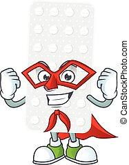 Pills cartoon design concept dressed as Super hero. Vector ...
