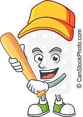 Pills cartoon design concept of hold baseball stick. Vector ...