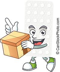 Pills cartoon design style having gift box. Vector ...