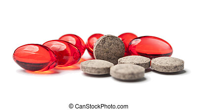 Pills closeup isolated on white