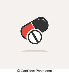 Pills color icon with shade on a beige background