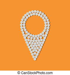 pills concept: map, pointer, navigator, gps