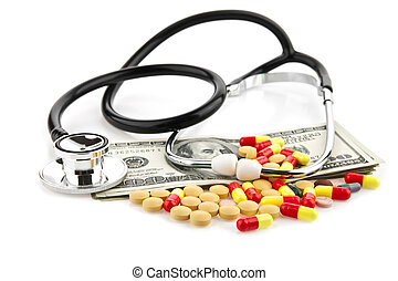 pills, dollars and stethoscope