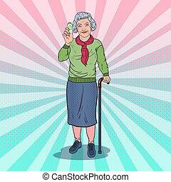 pills., donna, arte, pop, vettore, salute, illustrazione, presa a terra, medicina, anziano, care., felice