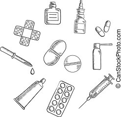 Pills, drugs and medical icons sketches