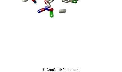 Pills drugs capsules falling slow motion closeup DOF