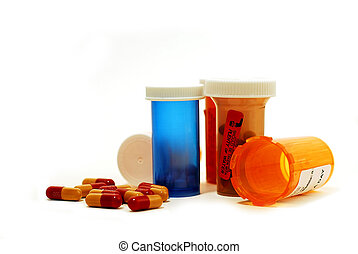 Pills drugs white - Pills and vials on white background