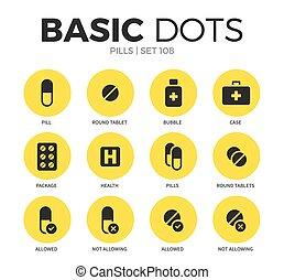 Pills flat icons vector set