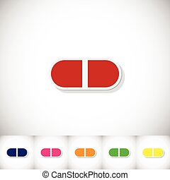 Pills. Flat sticker with shadow on white background