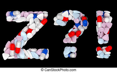Pills font Z exlamation and query marks