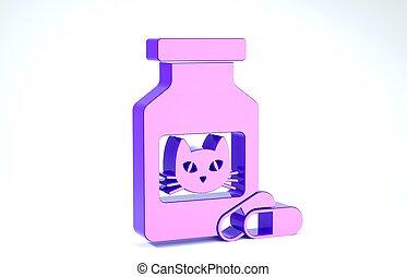 pills., garrafa, branca, prescrição, pílulas, ilustração, gato, ícone, recipiente, 3d, render, medicina, animal., roxo, experiência., isolado