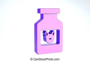 pills., garrafa, cachorro branco, prescrição, ilustração, ícone, recipiente, 3d, render, medicina, animal., roxo, experiência., isolado