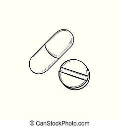 Pills hand drawn outline doodle icon.