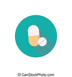 Pills icon in a flat design with long shadow illustration