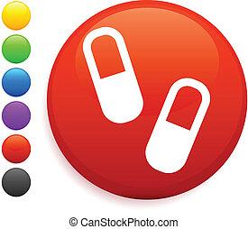 pills icon on round internet button