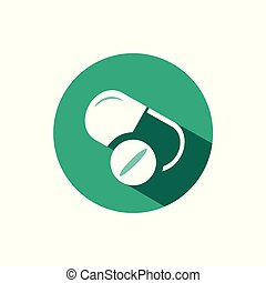 Pills icon with shadow on a green circle. Vector pharmacy illustration