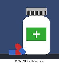 Pills, illustration, vector on white background.