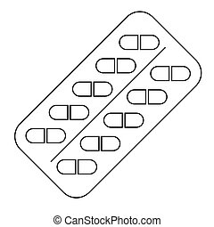 Pills in a blister pack. Flat illustration of capsules icon for web design