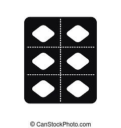 Pills in a blister pack icon, simple style