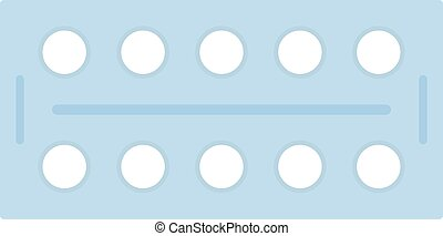 Pills in a blister pack vector icon flat isolated