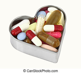 Pills in a heart shaped box