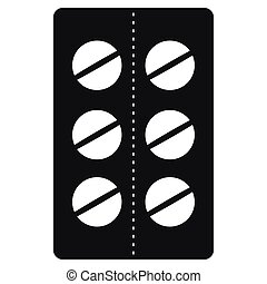 Pills in blister pack icon, black simple style