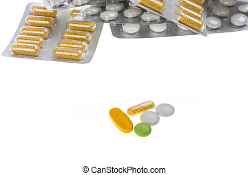 pills in blister package isolated on white