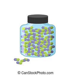 Pills in bottle. Transparent glass container for medication on a white background. Vector illustration medication