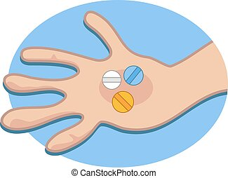Pills in Hand - Holding pills in the palm of hand.