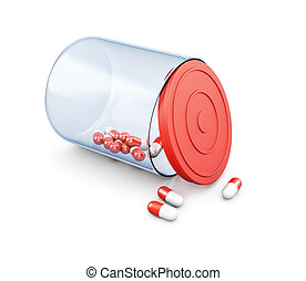 Pills in jar isolated on white background. 3d rendering