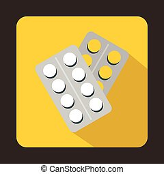 Pills in package icon, flat style