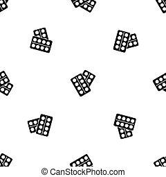Pills in package pattern seamless black