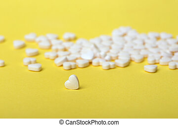 pills in the form of hearts