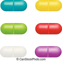 Pills in vector on white background.