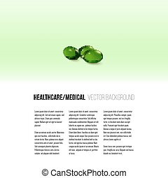 Pills isolated on green background, vector background for brochure, flyer or banner