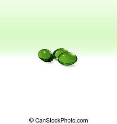 Pills isolated on green background, vector illustration