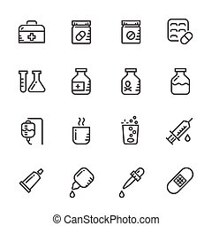 pills., lijn, set, vector, iconen