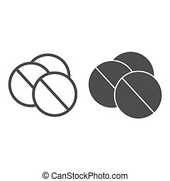 Pills line and solid icon, Medical concept, round pills sign on white background, Medicines icon in outline style for mobile concept and web design. Vector graphics.