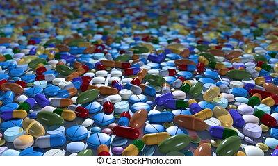 Seamless loop of endless sea of pills.