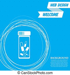 Pills, medication icon on a blue background with abstract circles around and place for your text. Vector
