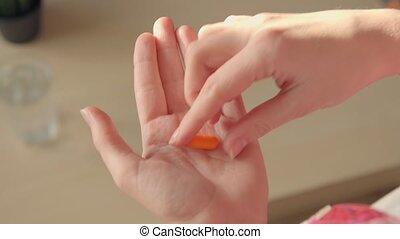 Pills, Medicine, Aspirin, Ibuprofen, Being Dropped into Hand from Bottle